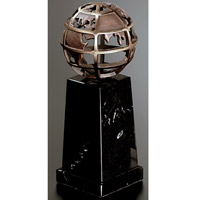 Bronze & Marble Globe Pedestal - Medium