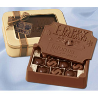 Large Custom Edible Chocolate Box Filled w/ 3-D Chocolate Symbols - 1.25 lbs