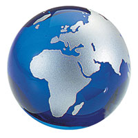 Glass World Globe Paperweight w/ Silver Continents