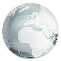 Clear Crystal Glass World Globe Paperweight w/ Silver Continents