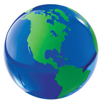 Glass World Globe Paperweight - Blue & Green