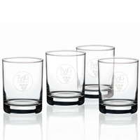 Double Old Fashion Glass Set of 4 - 14 oz Glasses