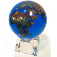 "6"" Blue Crystal Globe on Crystal Base"