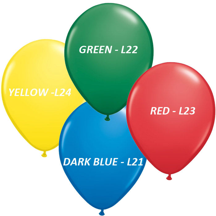 11 custom printed balloons standard colors w 3 5 color print